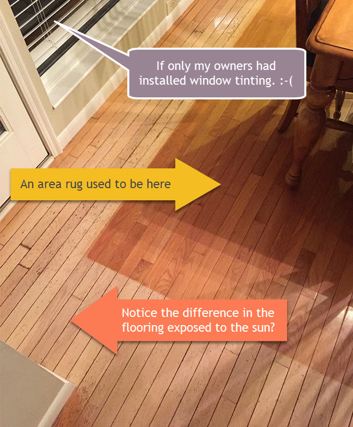 Sun damage to wood floors